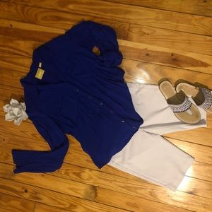 ANTHRO Maeve Royal Blue BLOUSE Small